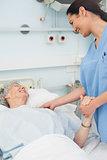 Nurse and a patient smiling