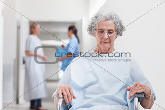 Elderly patient sitting in a wheelchair