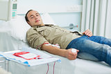Transfused patient looking at the camera