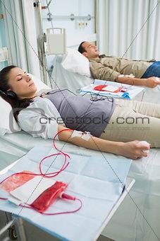 Transfused patients being sleepy