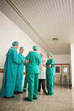Surgery team speaking to each other