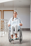 Front view of a patient sitting on a wheelchair