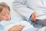 Child sleeping on a medical bed
