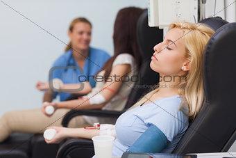 Blood donor sleeping
