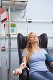 Transfused patient asleep