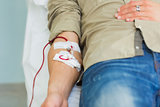 Close up of a patient transfused