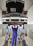Mechanic standing while repairing a car