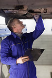 Mechanic looking at the below of a car while holding a clipboard