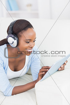 Black woman using a tablet computer