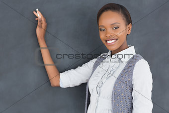 Black teacher looking at camera