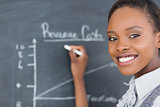 Focus on a teacher drawing a chart on a blackboard