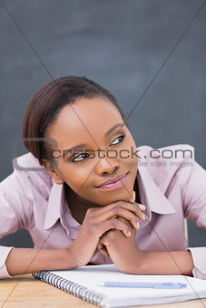 Close up of a thoughtful black woman
