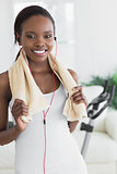 Close up of a black woman wearing a towel