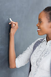 Close up of a teacher looking at the blackboard