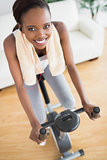 High view of a black woman on an exercise bike