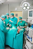 View of a surgical team operating