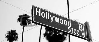 Hollywood Blvd Sign Horizontal Monochrome