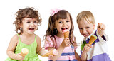 happy children group with ice cream in studio isolated