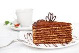 sweet chocolate cake on table