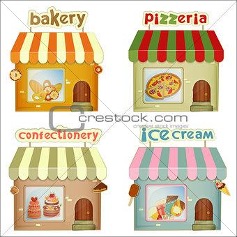 Set of Cartoon Shops