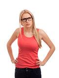 Upset blond woman