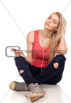Blond teenage girl sitting