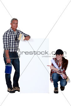Father and daughter doing DIY
