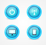 Set of glossy technology icons
