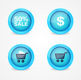 Set of glossy shopping icons