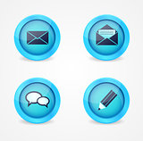 Set of glossy communication icons