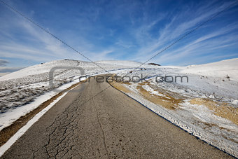 Road on the mountain in winter