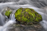 Rock.Fast-flowing water