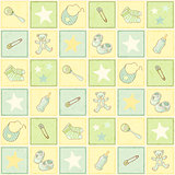 cute newborn seamless background, vector illustration, eps10