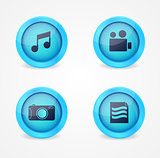 Set of glossy multimedia icons
