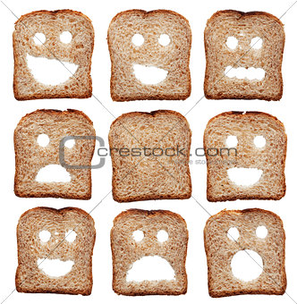 Bread slices with facial expressions