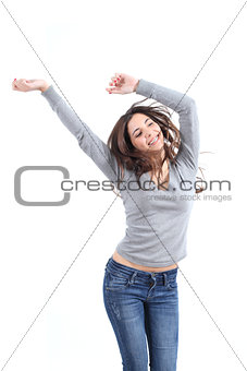 Beautiful woman dancing happy