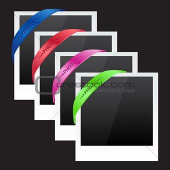 Three photo frames with corner ribbon