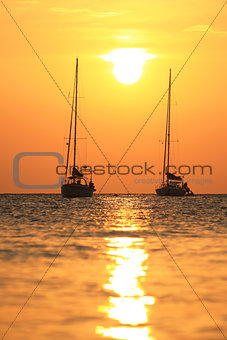 Twin Boats in the Ocean