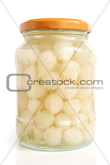 Preserved onion canned in glass jar