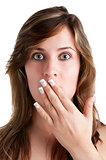 Shocked Woman Covering her Mouth