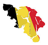 Belgium map cracked