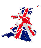 United Kingdom map cracked