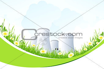 Abstract Background with Nuclear Power Plant and Grass