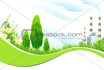 Abstract Background with Power Plant and Trees