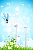 Abstract Background with Wind Power Plant and Hot Air Balloon
