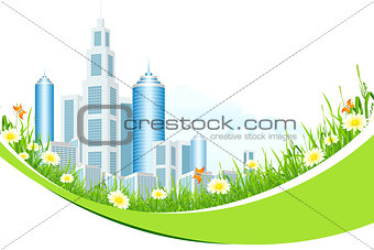 Abstract Background with City Line and Flowers