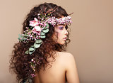 Profile of Woman with Colorful Wreath of Flowers. Valentine&#39;s Day