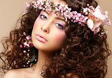 Maiden. Beautiful Neat Woman with Pink Romantic Wreath. Classy Brunette