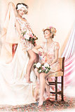 Sophistication. Old-Fashioned Concept. Two Pin Up Girls in Retro Dresses. Luxury