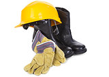 hard hat, boots and gloves